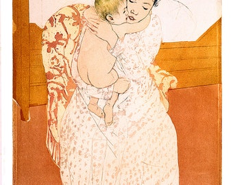 "Vintage Giclee Reproduction Mary Cassatt ""Maternal Cares"" Fine Art - 10x14"