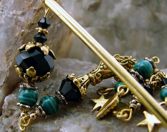 Hair Stick Malachite Gemstones Swarovski Crystals Dark Green Japanese Geisha Hair Sticks Oriental Hairstick Kanzashi Hair Pins - Leonie