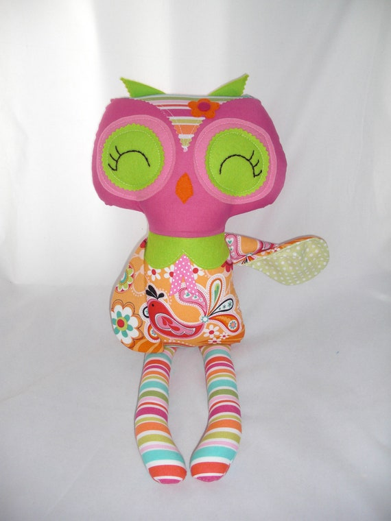 Owl Doll, Plush Owl, Handmade Cloth Owl, 1 in stock  READY TO SHIP