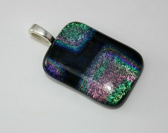 Dichroic Glass Pendant Sterling Silver Plated Bail