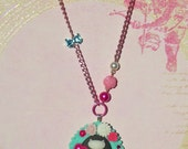 SALE and 100% DONATION to AHA // Retro Kitty Necklace - Aqua and Pink