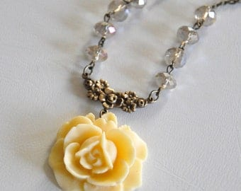 Light Yellow Rose Necklace, Antique Brass Flower Necklace, Crystal Beads Necklace, Ivory Cream Floral Necklace, Bridesmaid Jewelry Gift