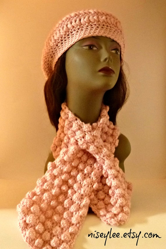 Breast Cancer Awareness-Pretty in Pink Crochet Beret and Keyhole Bobble Scarf