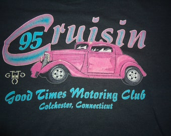 vintage tshirt CRUISIN car I95 Good Times Motoring Club Colchester CT screen stars