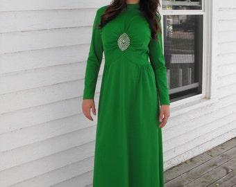 Vintage 70s Green Dress Party Pearls Rhinestones Maxi S