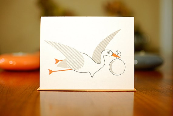 SALE - Speedy Stork Modern New Baby Congratulations Card on 100% Recycled Paper