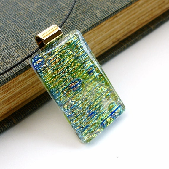Green and Blue Pendant, Dichroic Necklace, Fused Glass Jewelry