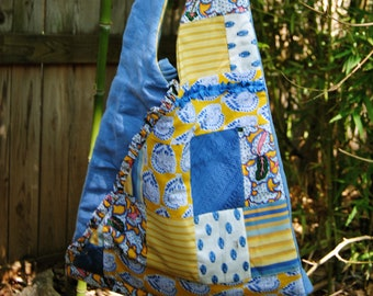 Shoulder Bag - Pieced Designer Bag - Yellow and Blue Provence Hobo Bag - Vintage Provence and Lovely Blue Linen Shoulder Bag