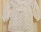 Vintage 60s Knit White Winter Dress with Bloomers 2 Piece Christening