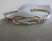 LOVE KNOT Bracelet, Celtic, two tone,14 K Gold Filled & .925 Sterling silver,wire wrapped, celtic knot, Romantic