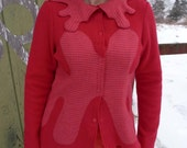 SALE - meerwiibli rorschach red pink sweater jacket - S and M in stock