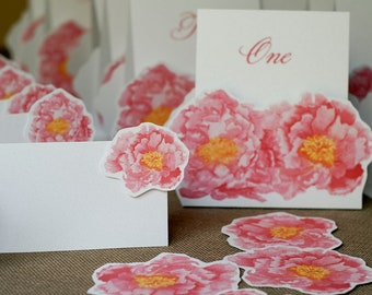 Peony Place cards - for events weddings, parties and holiday entertaining