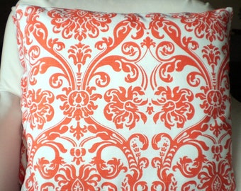 Orange White Damask Pillow Covers, Decorative Throw Pillows Cushions Orange White Damask Abigail Euro Sham Couch Bed, One or More ALL SIZES
