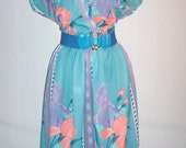 Vintage 1970s Turquoise Dress Tropical Floral Design/ Plus Size