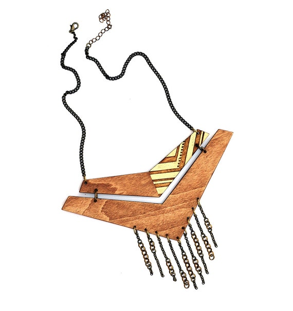 Wooden Chevron Necklace. Oversized Wood Necklace with Chain Fringe.
