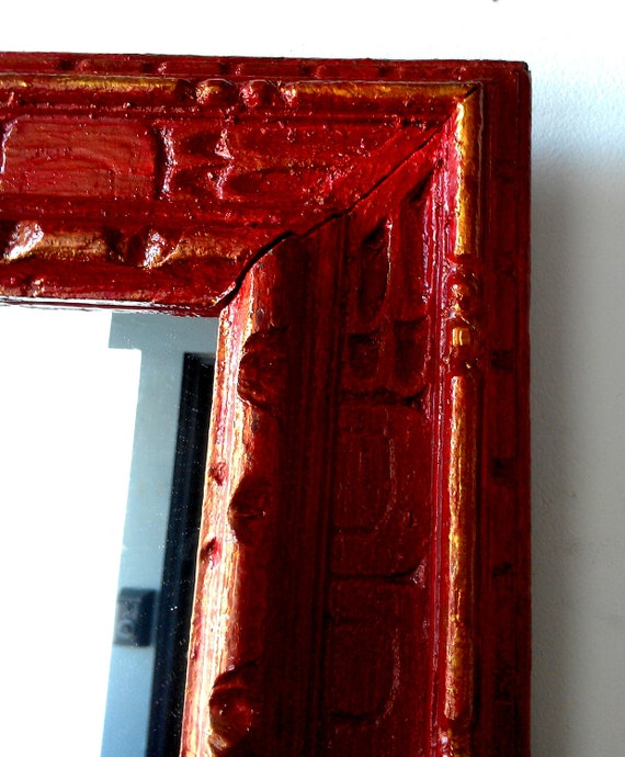 Large Wall Mirror In Antique Carved Wood Frame Red And Gold 30