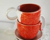 "Tea and coffe cups -  Set of 2 with saucers ""Al Bacio n'3 e n'4"""