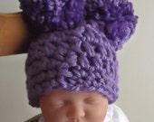 MINNESOTA Purple.... Pom Pom Hat..... Newborn, 0 to 3 Month & 3 to 6 month.... PHOTOS.... Adorable on Baby