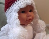 Adorable Winter Hat....6 Month size....Burgandy with White Trimmings...PHOTOGRAPHERS....Ready to Ship