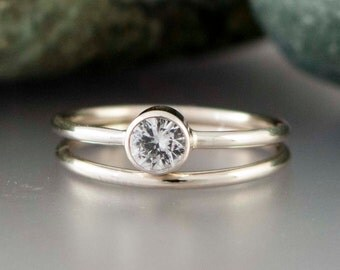 14k White Gold and Moissanite Wedding Ring Set - Thin Engagement Ring and Wedding Band in white or yellow gold