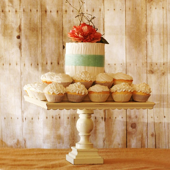 White Pedestal Antiqued Cake Stand