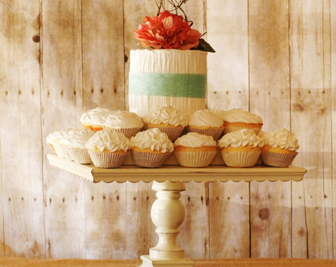 """16"""" Square Shabby Chic White Pedestal Antiqued Cake Stand or Cupcake Stand"""