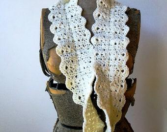 Infinity Scarf, neck cowl, crocheted lace - Cream white merino wool