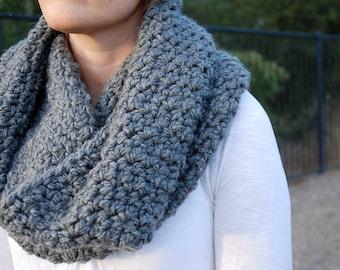 crochet  gray cowl or scarf handmade  - crochet chunky  cowl dark  gray handmade - scarf  gray crochet chunky handmade
