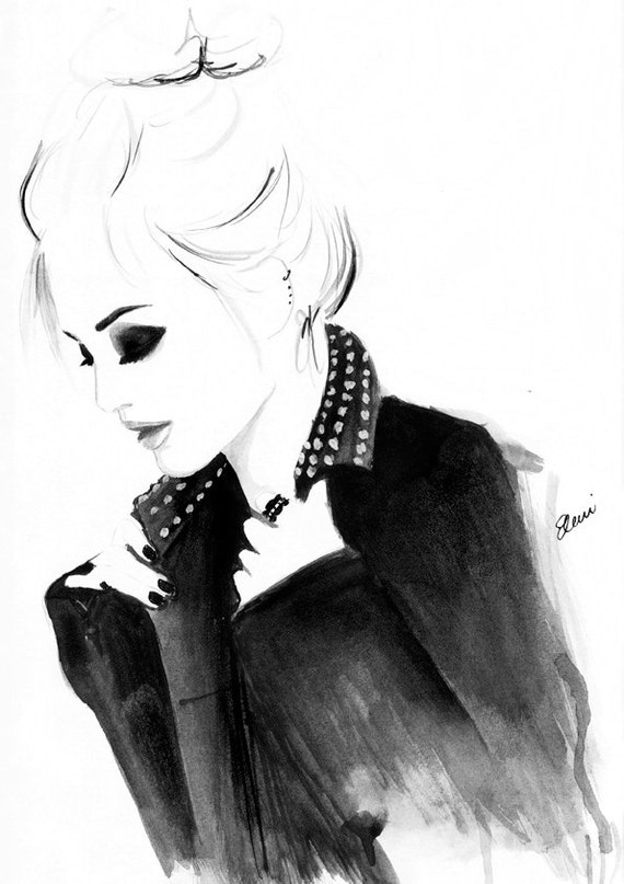 Watercolour fashion illustration of Leighton Meester Titled Punky Topknot by fall into london, etsy print shop, back to school, decorating college dorm room, decor for your first apartment