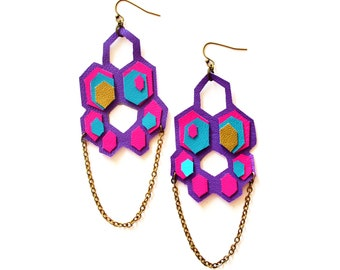 Leather Earrings Neon Geometric Hexagon Honey Combs