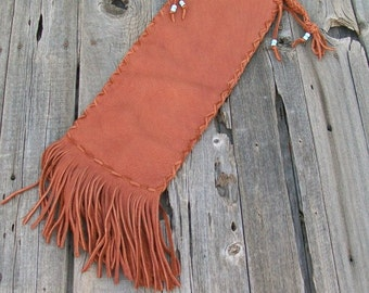 Fringed leather pipe bag , leather pipe bag ,  Pipe bag , Chanupa bag