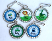 woodland animal party favor, Safari Birthday party favors - Personalized Zipper Pull, bag tags - Pesonalized Kids Stocking Stuffer