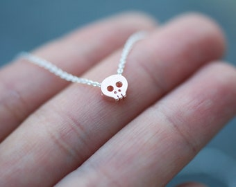 ROSE GOLD Tiny Skull charm necklace on delicate chain teeny tiny cute and dainty