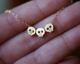 GOLD Trio of Teeny Tiny Skull charms necklace on delicate chain, Gold Skulls necklace