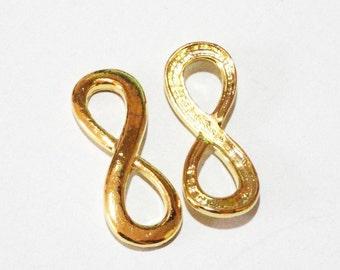 Infinity Connector, Gold Bracelet Infinity Links, Gold Infinity Sideways Curver Bracelet Bar (2) PCS, 34mmx13mm, Gold Metal Jewelry Findings