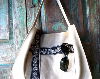 Handmade Large Soft White Leather Tote or Bag with Vintage Embroidery Accents