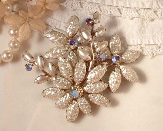 Brooch OR Hair Comb, Champagne Ivory Baroque Pearl & Champagne Rhinestone Large Bridal TRUE Vintage Heirloom
