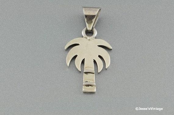 Vintage Pendant Charm Palm Tree Sterling Silver 925
