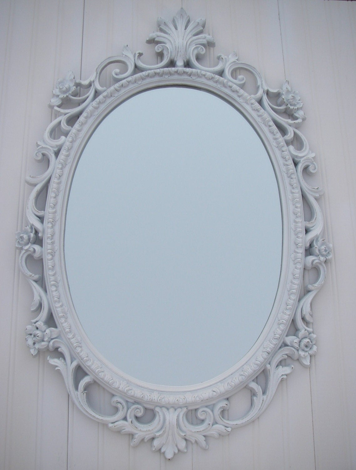 Vintage white mirror frame homco oval shabby by for White mirror