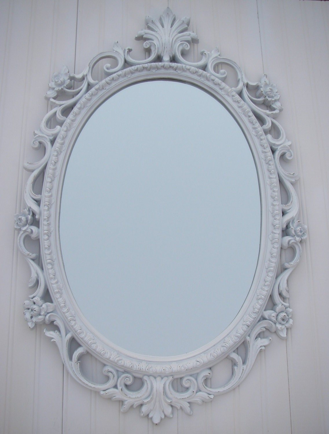 Vintage white mirror frame homco oval shabby by for White framed mirror