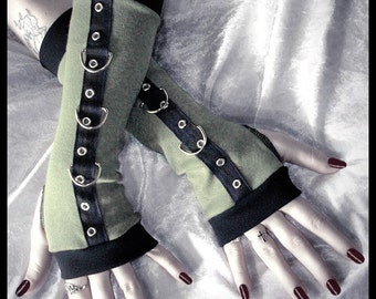Gothic Unisex Dark Side Boot Camp Bondage Arm Warmers | Light Army Olive Sage Green | Silver Metal D Rings | Vampire Fetish Cyber Goth Steam