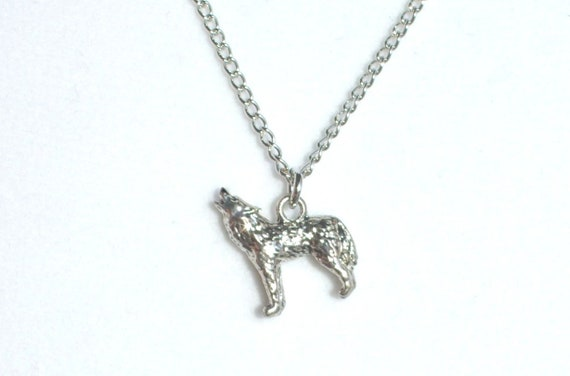 Howling Wolf Necklace, Antique Silver - Symbolizes free will, unity, toughness, loyalty, friendship, and leadership