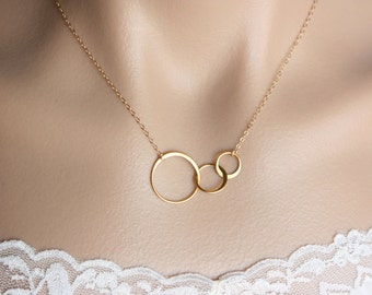 Three Circle Necklace , Karma Necklace , Family Link Necklace , 14K Gold Filled , Sterling Silver , Choker Or Layered , Minimal Necklace