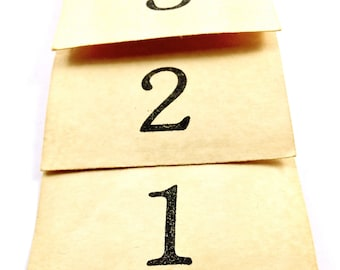 Number Tags - Large Manilla Vintage Style Coffee Tea Stained - Wedding Table Numbers