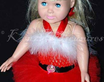 """Santa Baby Tutu Outfit for 18"""" and 15"""" Dolls - Fits American Girl Dolls and My Generation Dolls"""