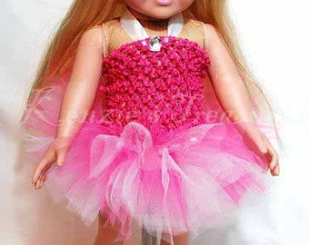 """2-Piece Sweetly Pink Tutu Outfit for 18"""" and 15"""" Dolls - Fits American Girl Dolls and My Generation Dolls"""