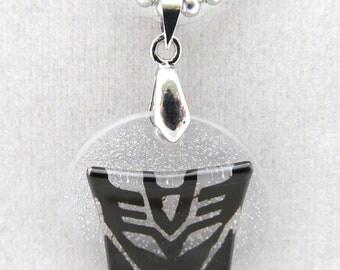 Black Decepticon symbol on ball chain necklace