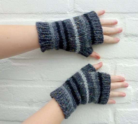 Stripe Fingerless Gloves, Long, Hand Knit, Men and Women - Gray, Black, Light Gray