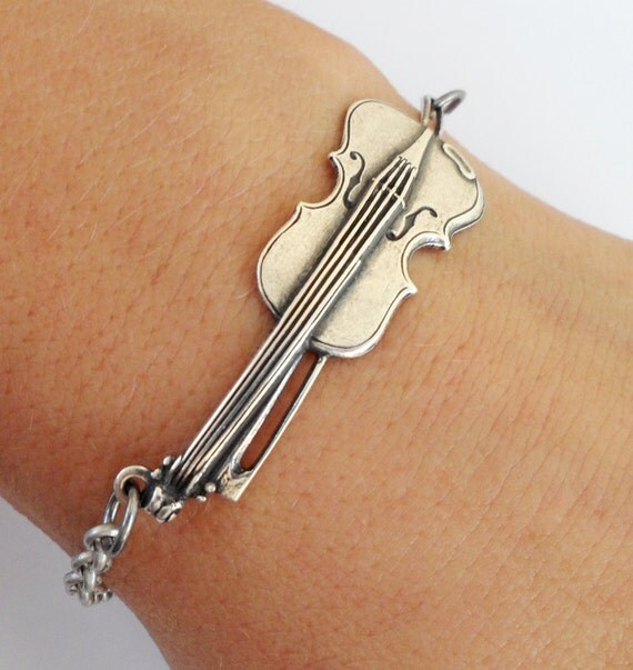 Steampunk Violin Bracelet- Sterling Silver Ox And Antiqued Brass Finishes