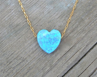 Heart Necklace Gold , 14k Gold Filled Chain, Blue Heart Necklace, Opal Jewelry, Designer Necklace, Heart Necklace, Womens Jewelry, Necklace
